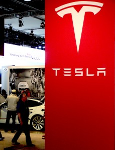 Tesla booth at Detroit Auto Show