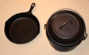 Photo of cast iron pot and pan
